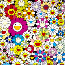 Murakami Takashi Works Sun Flowers (Group II) B Print Oil Painting on Cotton Canvas Painting Abstract Wall Art