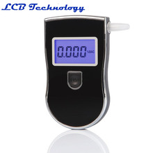Hot Send 5 Mouthpiece Professional Police Black Digital LCD Alcohol Breath Analyzer Detector Breathalyzer Tester Test AT-818