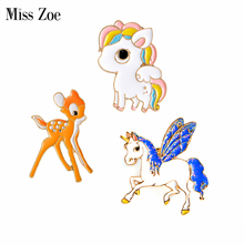 Miss Zoe Lovely Wings Pony Horse Unicorn Deer Brooch Button Pins Denim Jacket Pin Badge Cartoon Animal Jewelry Gift for Kids