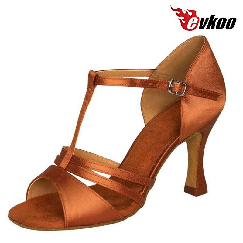 Evkoo Dance Brand Woman Latin Dance Shoes T-strap Style 7 cm Heel Five Different Color Can For Choice Evkoo-211<br>