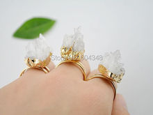 5pcs Druzy, Drusy Gold Color Druzy Quartz Ring, Gold color Crystal Druzy Gem stone rings in clear color