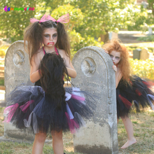 Ksummeree Zombie Tutu Dress Handmade Girls Dress for Purim Scary Monster Pageant Black Hot Pink Halloween Costume TS133(China)