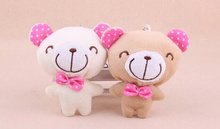 Kawaii 9CM Bowtie Chocolate Teddy Bear Plush Stuffed TOY DOLL Phone Strap ; BAG Pendant TOY DOLL Wedding Gift Bouquet DOLL TOY