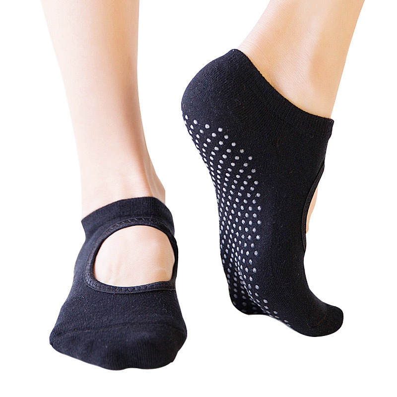 Women/'s Yoga Pilates Ballet Sock Cotton Non slip Backless Barre Socks With Grip