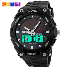 Men Solar Power Watch Led Digital Outdoor Sports Watches Diving 50m Waterproof relogio masculino SKMEI 1049 Man Military Watch