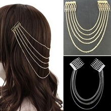Wedding Hair Accessories Long Tassel Hairwear Chain Hair Pin Comb Cuff Fashion Clip Headband for Women(China)