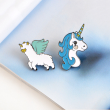 Cartoon Animal Colorful Unicorn Flying Lamb Cat Horse Brooch Button Pins Denim Jacket Pin Badge Gift Fashion Jewelry(China)