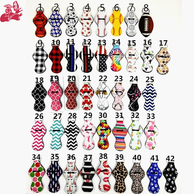 wholesale Neoprene keychain chapstick holder Mermaid Tail chapstick Lip gloss sleaves keyring key chain for sale Party Favors
