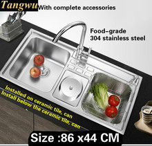 Free shipping Food grade 304 stainless steel kitchen sink 0.8 mm thick dishwashing ordinary large double groove 860x440 MM(China)