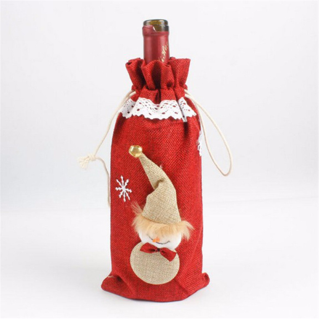 1pc Wine Bottle Cover Christmas Santa Snowman Table Party Decor Xmas Ornament Gift