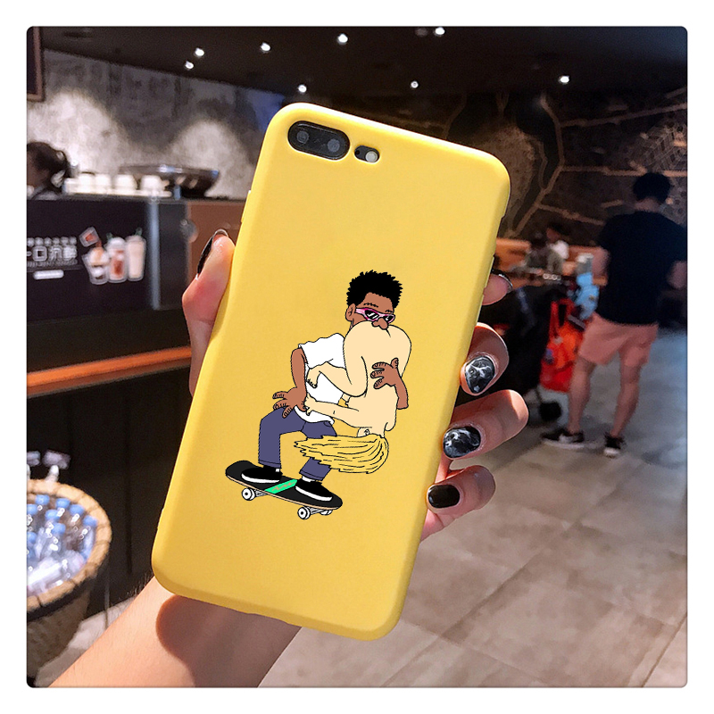 fashion sexy skate fast eat ass Candy Color TPU Case phone For iphoneX 7 8 XS XR XSMAX Pink Yellow purple Cover