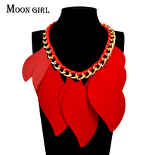 MOON GIRL New Design Choker Autumn fashion jewelry display Acrylic Leaves pendant statement chokers necklace for women collares(China)