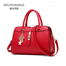 Women Pu Leather Handbags Fashion Totes Female Classic Shoulder Bags Clutch Bags Sac A Main Ladies Burgundy Crossbody Bags(China)