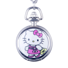 Pocket Watch Children Girl Necklace Flip Cloak Cartoon Cute Hello kitty Puppy Pendant Watch Quartz KT Cat Necklace Hanging Table