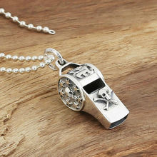 Pirate skull whistle pendant 100% real 925 sterling silver for women or men gift necklace pendant fine vintage jewelry 2016 GP17