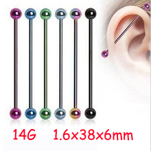 2 Piece 1.6x38x6mm 14G Fashion Stainless Steel Long Industrial Straight Barbell Neon Candy Color Ear Piercing Body Jewelry