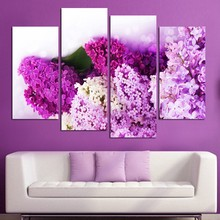 Fashion Lilacs Flowers Canvas Painting 4 Panels Artwork Poster Home Decor Wall Pictures For Living Room Large HD Modular Picture