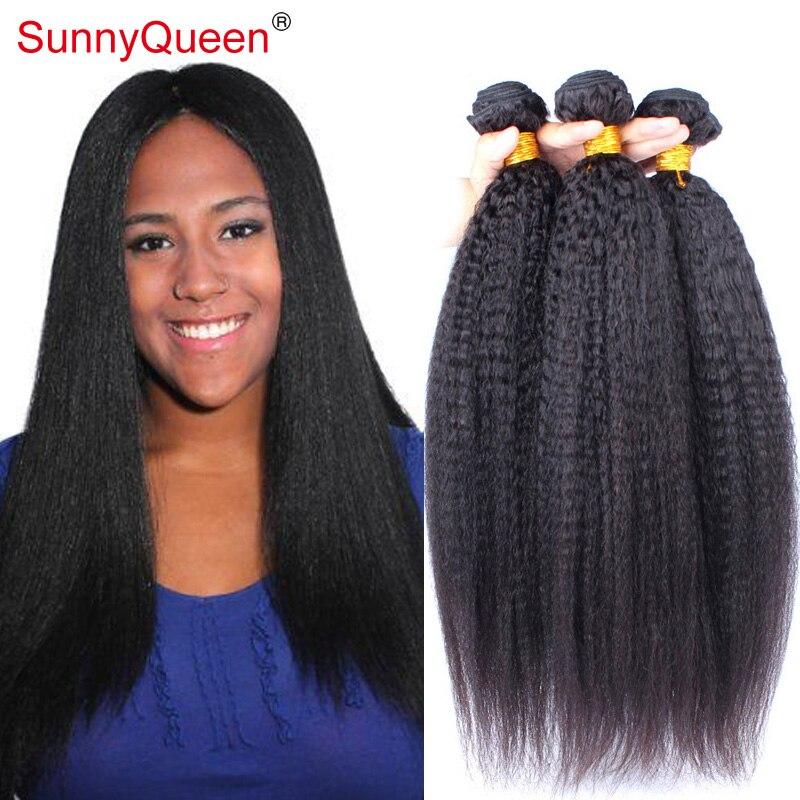 6A Kinky Straight Virgin Eurasian Hair 3Pcs Lot Unprocessed Eurasian Kinky Straight Human Hair Weaves Sunny Queen Hair Products<br><br>Aliexpress