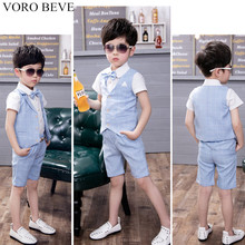 VORO BEVE Children Evening Three Piece Sets Summer Suit Small Flower Boy Wedding Suit Piano Host Show Boy Clothes Baby Clothing