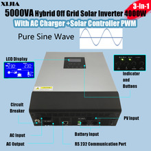 5KVA/4000W Hybrid Inverter Pure Sine wave with AC Charger 30A+Solar Charger Controller PWM PV input 50A DC 48V to AC 220V