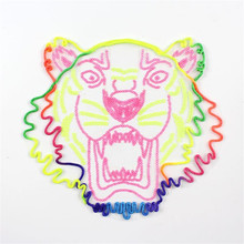 Fashion clothes patch sequins 23cm animal logo tiger head applique embroidery flower patches for clothing sticker patchwork