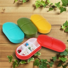 Portable Pea Shape 6 Compartment Yellow Pill Case Pill Box Medicine Organizer Drugs Pill Container