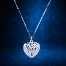 cordiform hollow shiny silver plated Necklace 925 jewelry silver Pandant Fashion Jewelry IWPNYOYN(China)