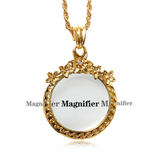 New arrival 65cm long Chain Crystals Necklace Reading Glass Pendant Women Necklaces With Magnifying Glass Pendants Free shipment