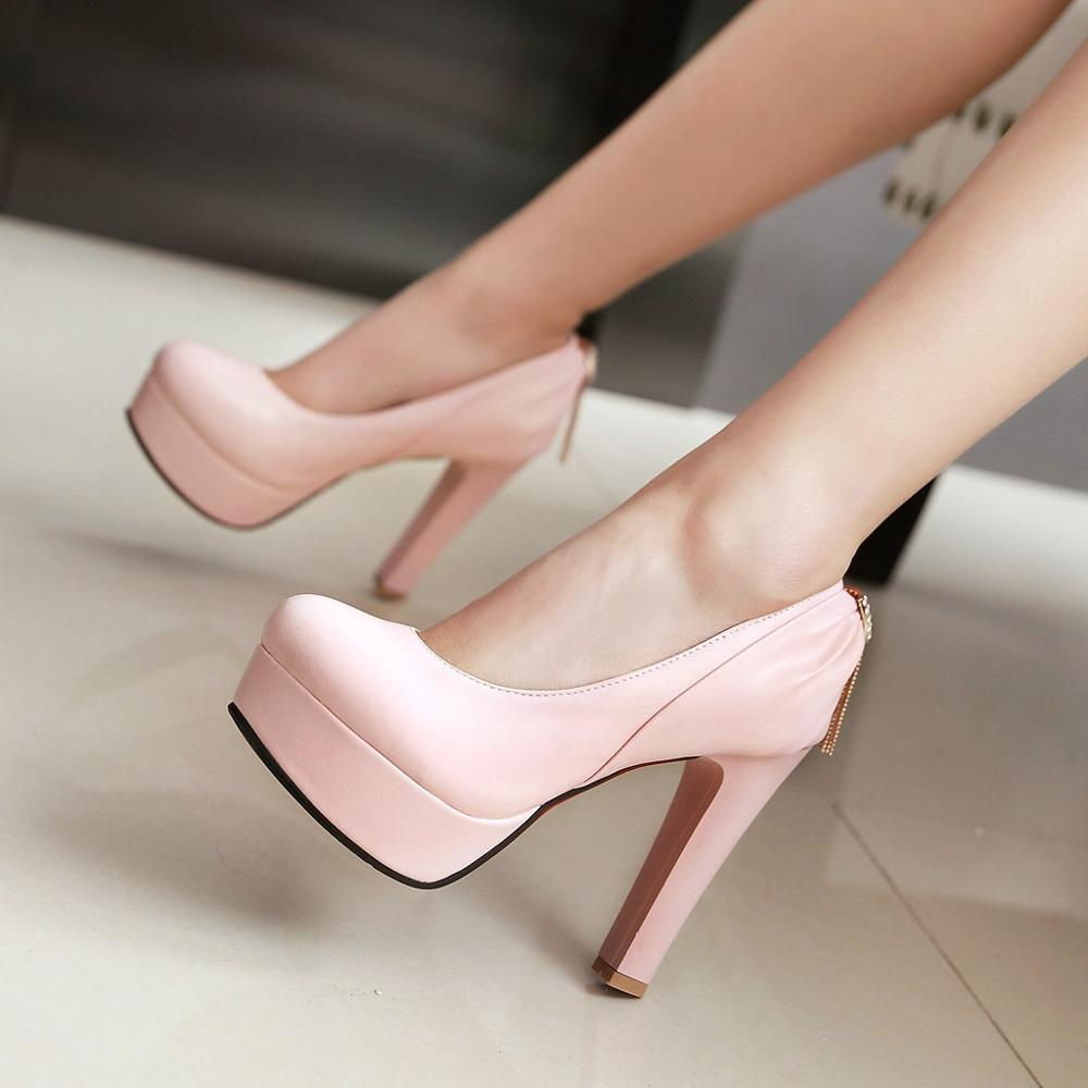 new fashion spring autumn shoes women shoes platform thick heel women pumps high heel lady party pink shoes big size 34-43 0262<br>