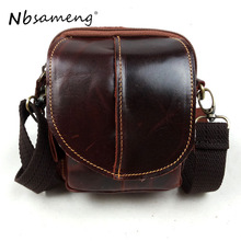 NBSAMENG 100% Genuine Leather Men Bag Hot Sale Male Small Leather Messager Bags Travel Bag Mens Casual Crossbody Bag