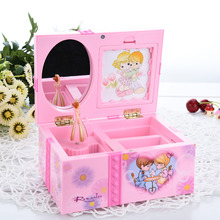 Beautiful European Style Lovely Pink Jewelry Music Box Sweet Gift Box Design Clockwork Music Box Nice Gift Size 15.5*11*7.5cm