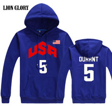 Men's Cotton Long-sleeved Team USA Number 5 Thunder baloncesto Dream Team Hoodie Loose Breathable Long-sleeved Pullover 5 MY281