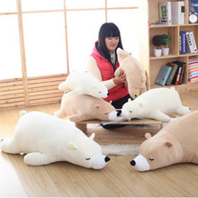 55-75cm/21-30'' White Brown Polar Bear Plush Toy Soft Stuffed Animals Doll Gift Valentine Cushion Pillow Good Quality