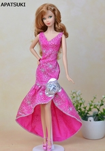 Pink Fashion One Piece Long Evening Dress For Barbie Dolls Vestidos Party Dress For 1/6 BJD Doll Dress Doll Clothes(China)