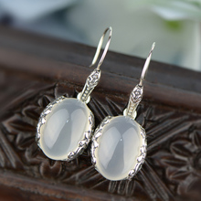 Natural Chalcedony Earrings 925 Silver Drop Earring for Women Partty Brincos GZ sterling-silver-jewelry Boucle d'oreille CE130