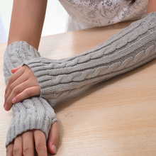 Winter Gloves Women Mitaine Long Knitted Arm Hand Warmer Fingerless Gloves for Female Guantes Invierno Handschoenen