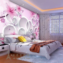 beibehang daydream simple personality flower 3D circle wallpaper bedroom living room sofa TV wall background wallpaper murals(China)