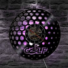 1Piece Vintage Silhouette LED Backlight Modern Light Wall Golf Ball Design Vinyl Clock Room Interior Art Decor Remote Controller(China)
