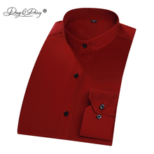 DAVYDAISY Brand 2018 New Men Shirt Mandarin Collar Long Sleeved Classical Solid Male Shirts Formal Business Shirt Man DS207(China)