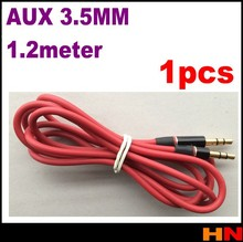 1pcs Aux Cable 120cm 4FT Male to Male MM 3.5mm Audio Stereo Cord 4 iPod MP3 red 1 PCS(China)