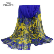 [BAIXUANJUN] ladies retro scarves Bali yarn printing ladies fashion scarves ladies increase shawl sunscreen scarves