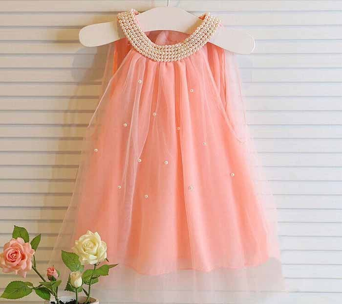 Baby girls sleeveless dress white pink dot lace princess party pearls floral dress summer clothes infant children clothes<br><br>Aliexpress