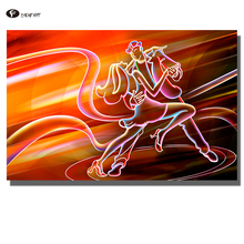 CHENFART Decorative Pictures Music Dancing Abstract Oil Painting for Living Room Wall Art no Framed Home Decor(China)