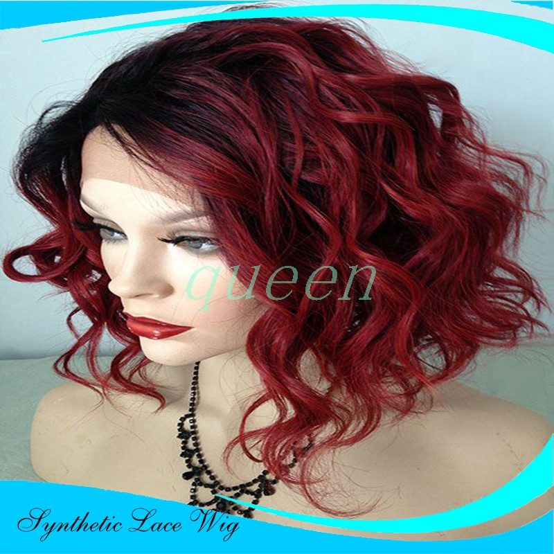 Free Shipping Super Wavy Heat Resistant Cheap Black to Burgundy /Wine Red Ombre Short Bob Wig Glueless Synthetic Lace Front Wig<br><br>Aliexpress