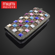 New Arrival women's wallet, female long design diamond bump color leather wallet day clutch, crystal clutch, purses for women