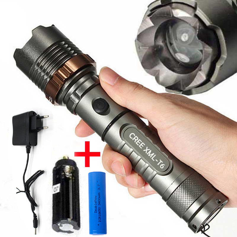 Zoomable 50000LM 3-Mode T6 LED Flashlight Magnetic Bright Lamp Portable Torches