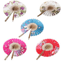Decorative Silk Blossom Hand Fan 8' Folding Purse Bamboo Japanese Windmill Fan for Wedding Party Event Supplies Home Decoration(China)