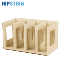 HIPSTEEN Creative Wooden DIY Desktop Book CD Storage Sorting Bookends Office Carrying Shelves(China)