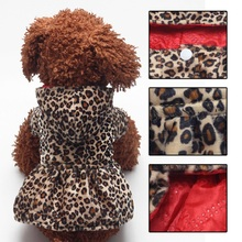 Fashion Leopard Pattern Pets Dogs Clothes Warm Coat Winter Dress Puppy Hoodies Both Sides Wear dog clothes for small dogs(China)