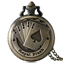 Antique Bronze Royal Flush Poker Cards Pocket Watch Necklace Chain Gift P80(China)